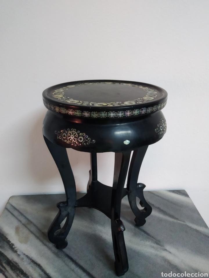 Arte: Antigua mesa china de Te ,lacada en negro y marquetería en nácar , - Foto 7 - 278621448
