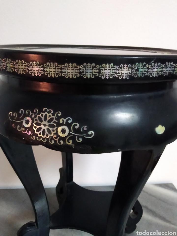 Arte: Antigua mesa china de Te ,lacada en negro y marquetería en nácar , - Foto 8 - 278621448