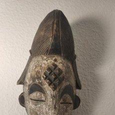 Arte: MASCARA AFRICA , ANTIGUA , DE CEREMONIA TALLADA EN MADERA ETNIA BAPUNU. Lote 279326673