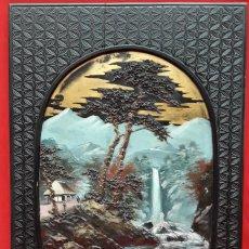 Arte: PANEL BAJO RELIEVE, PAISAJE ORIENTAL SIGLO XIX (JAPÓN). Lote 279359918