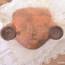 Arte: MÁSCARA DE ARCILLA VINTAGE MEJICANA AZTECA MAYA INCA. Lote 282979293