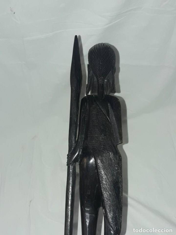Arte: Bella figura talla de madera Africana madera de ébano cazador Tanzania 37cm - Foto 8 - 283398303