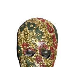 Arte: MASCARA AFRICANA TALLA DE MADERA POLICROMADA PINTADA A MANO. Lote 285039123