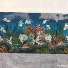 Arte: CUADRO GRAN MURAL LACA CHINA Y NACAR MADREPERLA PINTADO A MANO, REPRESENTA UN ACUARIO 320 X 40 CM. Lote 285534743