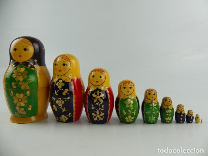 MATRIOSHKAS DE MADERA 10 FIGURAS RUSAS BONITOS COLORES EXCELENTE DECORACIÓN (Arte - Étnico - Europa)