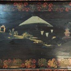 Arte: BANDEJA EN MADERA LACADA. PAISAJE ORIENTAL Y MOTIVOS FLORALES. CHINA. SIGLO XIX-XX. Lote 287198143