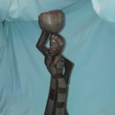 Arte: BELLA TALLA DE MADERA AFRICANA MUJER 45CM. Lote 287677068