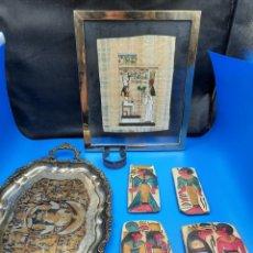 Arte: ARTE ETNICO EGIPCIO, PIEDRAS BAJO RELIEVE PINTADAS A MANO, BANDEJA GRABADA, BRAZALETE Y PAPIRO. Lote 288061008