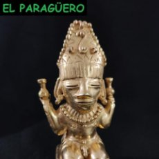 Arte: FIGURA DE ORO TUMBAGA PESO 167 GRAMOS ES UN CACIQUE PRECOLOMBINO QUIMBAYA. Lote 288227428