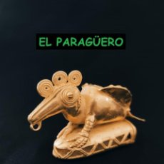 Arte: FIGURA DE ORO TUMBAGA PESO 82 GRAMOS ES UN PAJARO TICU PRECOLOMBINO QUIMBAYA. Lote 288227583