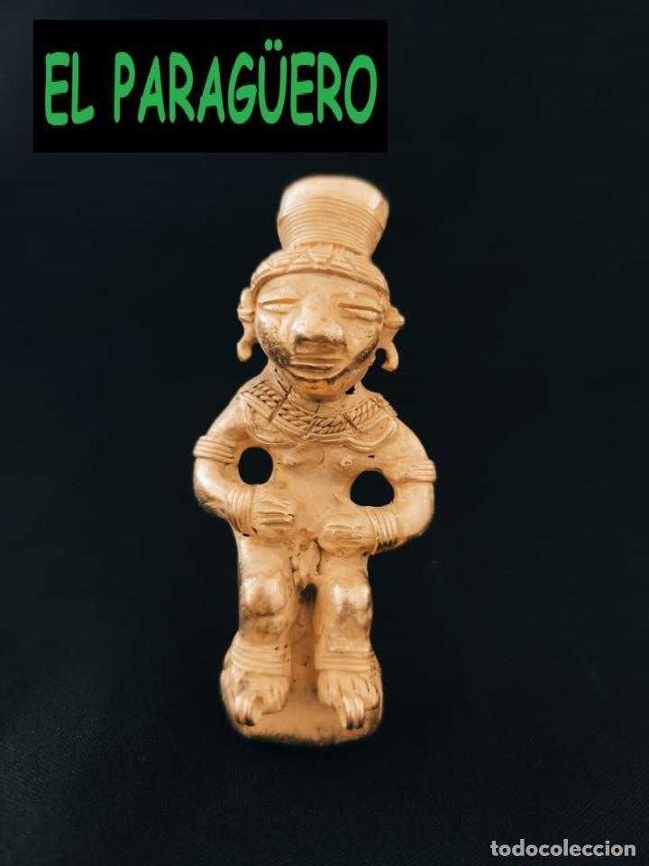 FIGURA DE ORO TUMBAGA PESO 91 GRAMOS ES UN CAZADOR DE COCODRILOS PRECOLOMBINO QUIMBAYA (Arte - Étnico - América)