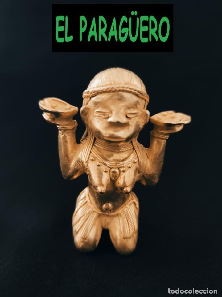 FIGURA DE ORO TUMBAGA PESO 90 GRAMOS ES UN MUJER CON ATUENDOS PRECOLOMBINO QUIMBAYA (Arte - Étnico - América)