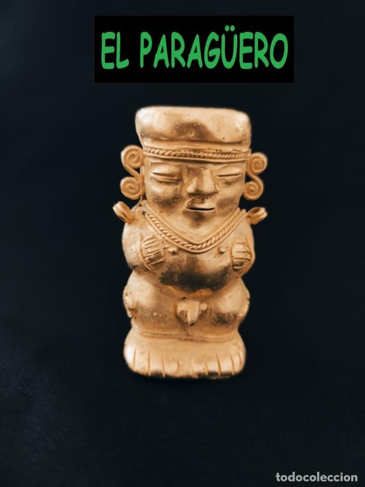 FIGURA DE ORO TUMBAGA PESO 75 GRAMOS ES UN HUMANOIDE ANTROPOMORFO PRECOLOMBINO QUIMBAYA (Arte - Étnico - América)
