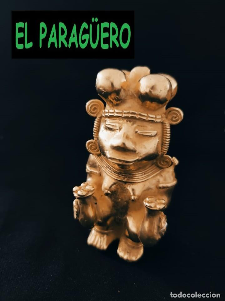 FIGURA DE ORO TUMBAGA PESO 123 GRAMOS ES UN CHAMAN QUIMBAYA PRECOLOMBINO QUIMBAYA (Arte - Étnico - América)
