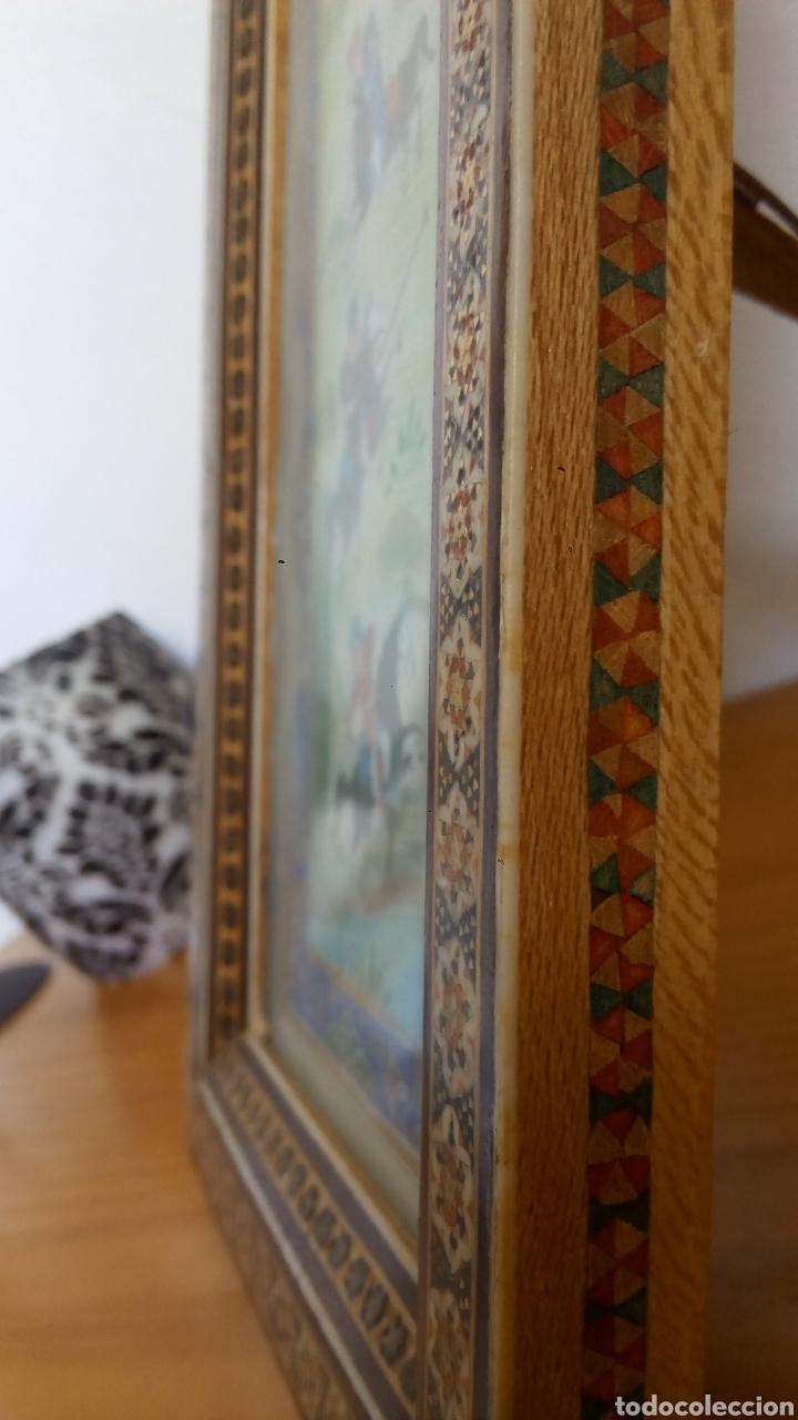 Arte: Antigua pintura miniatura persa - Jinetes jugando al polo (Chovgan) - marco taracea - Foto 3 - 288535593