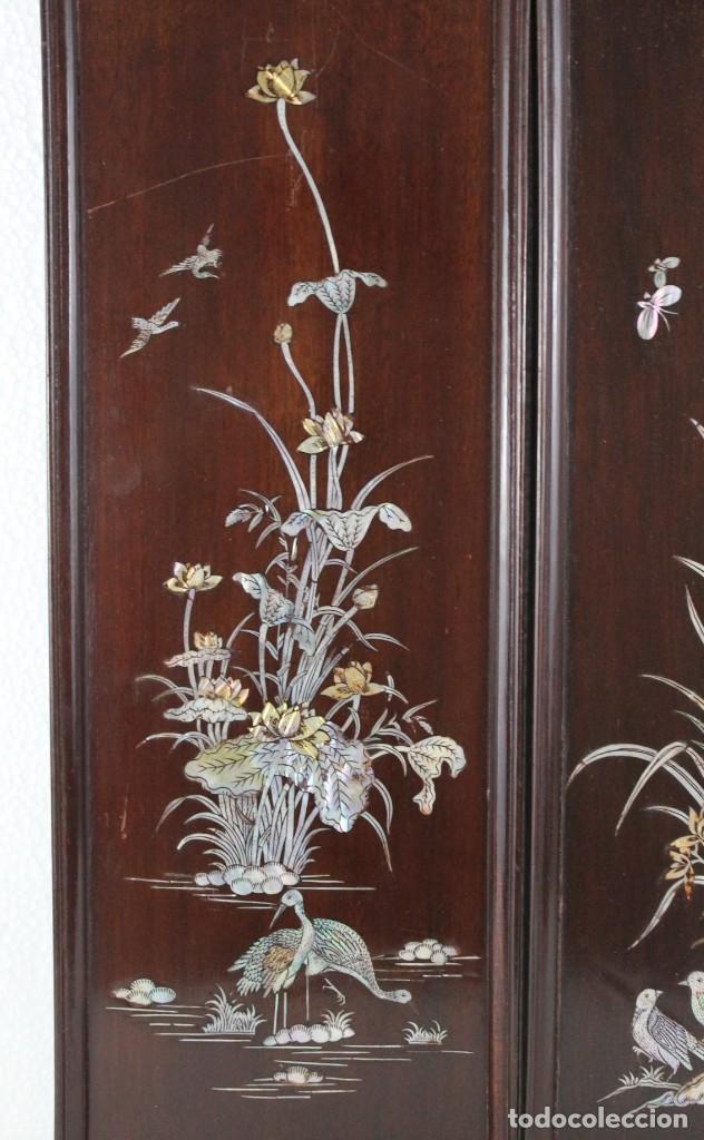 Arte: Pareja de paneles en madera con paisajes en nácar tallado. Mediados siglo XX - Foto 2 - 289250128