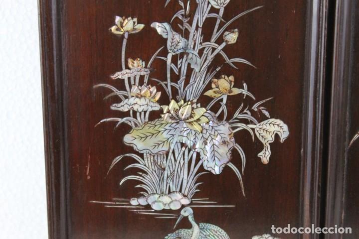 Arte: Pareja de paneles en madera con paisajes en nácar tallado. Mediados siglo XX - Foto 4 - 289250128
