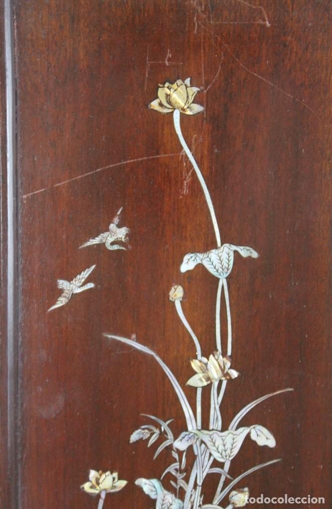 Arte: Pareja de paneles en madera con paisajes en nácar tallado. Mediados siglo XX - Foto 5 - 289250128
