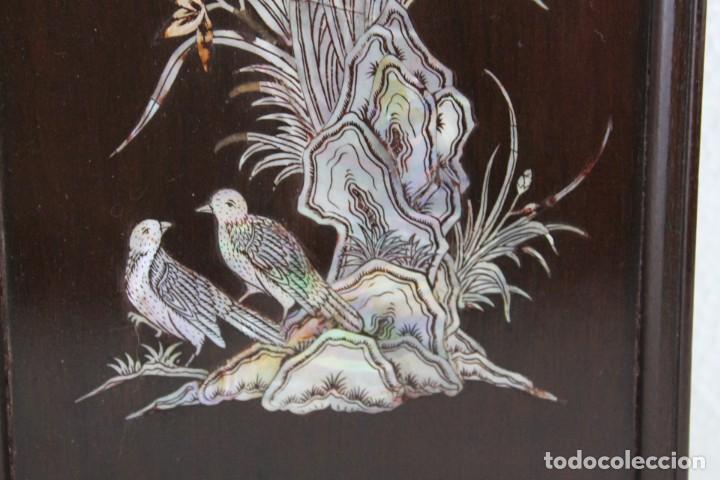 Arte: Pareja de paneles en madera con paisajes en nácar tallado. Mediados siglo XX - Foto 6 - 289250128