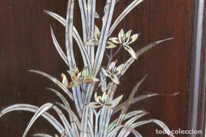 Arte: Pareja de paneles en madera con paisajes en nácar tallado. Mediados siglo XX - Foto 7 - 289250128