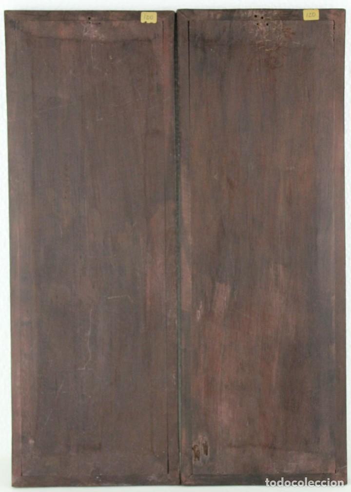 Arte: Pareja de paneles en madera con paisajes en nácar tallado. Mediados siglo XX - Foto 9 - 289250128