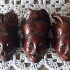 Arte: 3 MÁSCARAS DE CAOBA AFRICANAS EN MINIATURA.. Lote 294433848