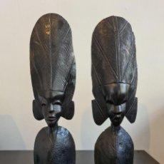 Arte: DOS BUSTOS AFRICANOS DE ÉBANO. Lote 294934108
