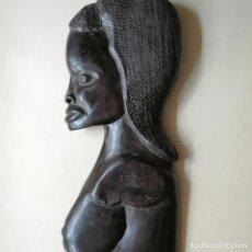 Arte: TALLA EN MADERA DE EBANO, MUJER AFRICANA, BUSTO, MÁSCARA.. Lote 296818268