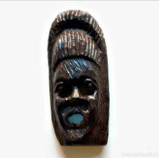 Arte: MASCARA ESTILO AFRICANO TALLADA EN MADERA MUY PESADA - 21.CM ALTO. Lote 296831373