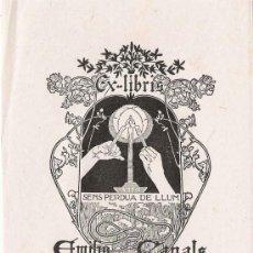 Arte: EX LIBRIS DE ALEXANDRE DE RIQUER PARA EMILIO CANALS – 1902.. Lote 25671002