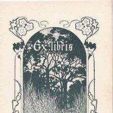 Arte: EX LIBRIS DE ALEXANDRE DE RIQUER PARA LEONOR MIQUEL- 1902.. Lote 25671006