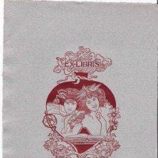 Arte: EX LIBRIS DE ALEXANDRE DE RIQUER PARA ALEXANDRE J. RIERA- 1901.. Lote 25671007