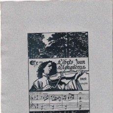 Arte: EX LIBRIS DE ALEXANDRE DE RIQUER PARA JOAN LLONGUERAS- 1901.. Lote 25671008