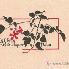 Arte: EX LIBRIS DE ALEXANDRE DE RIQUER PARA A. DE RIQUER Y PALAU - PRINCIPIOS S. XX-. Lote 25377094