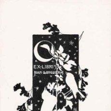 Arte: EX LIBRIS DE ALEXANDRE DE RIQUER PARA JOAN LLONGUERAS – 1901. Lote 25671019