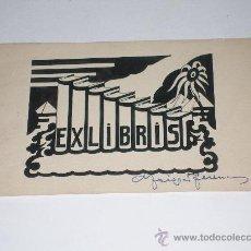 Arte: DIBUJO ORIGINAL EXLIBRIS FIRMADO A MANO .. Lote 19575603