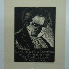 Arte: EXLIBRIS JOAN FISAS. XILOGRAFIA DE BRUNO DA OSIMO. ANCONA, 1949. . Lote 12883696