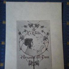 Arte: RIQUER EX LIBRIS PARA ALEXANDRE M. PONS EXLIBRIS EN PAPEL JAPON. Lote 127778035
