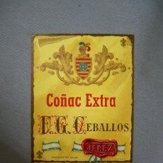 Arte: ANTIGUA ETIQUETA COÑAC F. G. CEBALLOS.- JEREZ DE LA FRONTERA. Lote 26301351