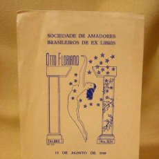 Arte: EX LIBRIS, EXLIBRIS, OTTO FLORIANO, 15 AGOSTO 1949, EXPOSICION MUNICIPAL EX LIBRIS, RIO, BRASIL. Lote 17869746