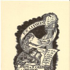 Arte: EX-LIBRIS DE JOAN ANGLADA VILLÁ PARA ANTONI DE P. CALLIS I OBRADOR. Lote 25957439