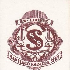 Arte: EX-LIBRIS DE SANTIAGO SAGARDA SERT. 5X6.5. EX-LIBRIS. EX-LIBRIS. EXCELENTE EX - LIBRIS DE SANTIAGO . Lote 26547829