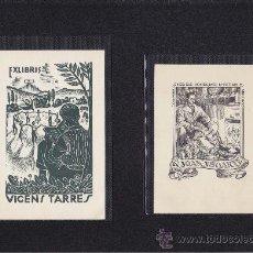 Arte: 2 EX-LIBRIS DE: VICENS TARRES Y JOAN ESTIARTE . 9.5X14 / 9X12.5. EX-LIBRIS. EX-LIBRIS. EXCELENTE 2 E. Lote 26856843
