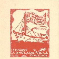 Arte: EX-LIBRIS DE JUAN ANGLADA-VILLÁ - 1958. Lote 28573699