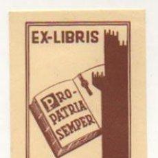 Arte: EXLIBRIS. EX-LIBRIS. PRO PATRIA SEMPER. ADELINO VIEIRA NEVES. (10,5 X 6,50 CM.) 1947. . Lote 29161584