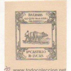 Arte: EXLIBRIS. EX-LIBRIS. DR. CASTILLO DE LUCAS. LO QUE VA A SER VA SIENDO. (8,5 X 7,5 CM.) . Lote 29164140