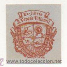 Arte: EXLIBRIS. EX-LIBRIS. J. VERGÉS VILLAMIL. (7 X 6 CM.) ILUSTRACIÓN DE 'BON'. . Lote 29202591