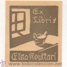 Arte: EXLIBRIS. EX-LIBRIS. ELSA ROUTTARI. (8 X 6,5 CM.) . Lote 29202654