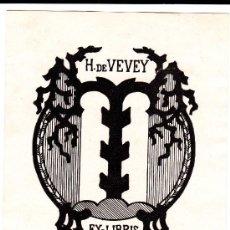 Arte: EX-LIBRIS H.DE VEVEY REGINALD DE HENSELER.. Lote 29600491