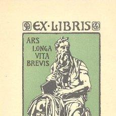 Art: EXLIBRIS DEL ESCULTOR DIONIS RENART REALIZADO POR SU HERMANO JOAQUIM RENART 1907 MODERNISTA. Lote 57261244